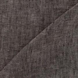 Tissu chambray 100% lin - taupe foncé x 10cm