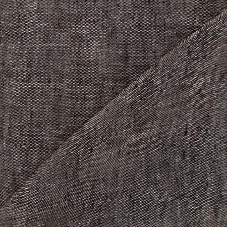Chambray linen fabric - dark taupe x 10cm