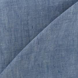 Tissu chambray 100% lin - bleu x 10cm