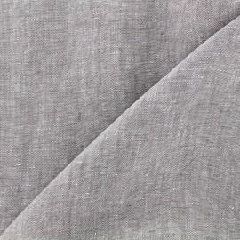 Tissu chambray 100% lin - gris clair x 10cm
