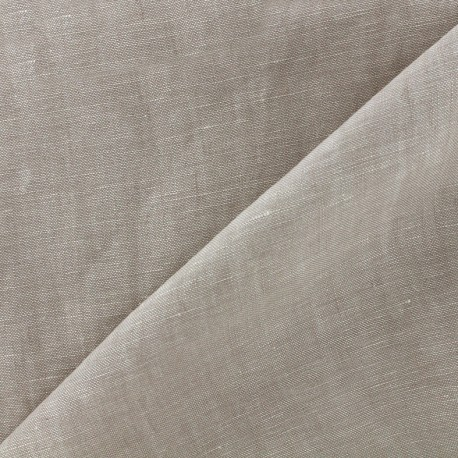 Chambray linen fabric - light beige x 10cm