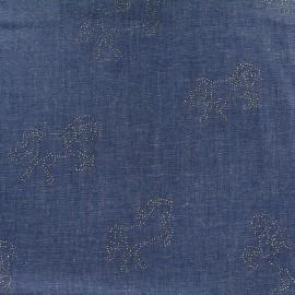 Tissu Jeans fluide Shiny horses - bleu foncé x 10cm