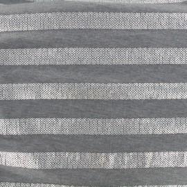 ♥ Coupon tissu 150 cm X 140 cm ♥ Jersey Sparkle lines - gris
