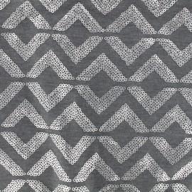 ♥ Coupon tissu 30 cm X 140 cm ♥ Jersey Sparkle graphik - gris