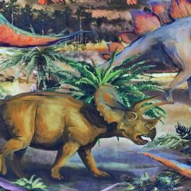 Tissu popeline à impression digitale - Dino x 56cm