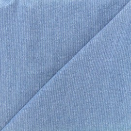 Viscose chambray fabric Denim stripes - light blue x 10cm