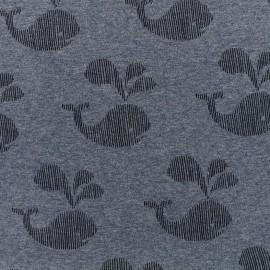 Tissu sweat envers minkee Baleine chiné noir - bleu x 10cm