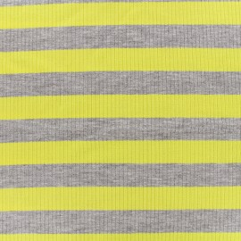 Striped stitched marcel jersey fabric 23 mm - grey/yellow x 10cm