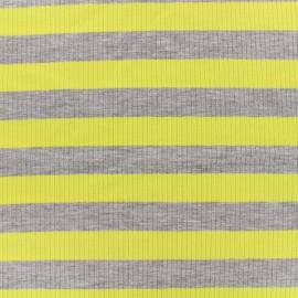 Tissu jersey maille marcel Rayures 23 mm - gris/jaune x 10cm