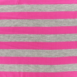 ♥ Coupon 200 cm X 140 cm ♥ Tissu jersey maille marcel Rayures 23 mm - gris/fuchsia