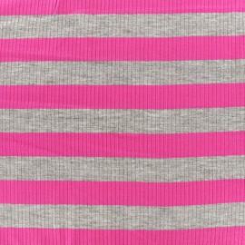 Tissu jersey maille marcel Rayures 23 mm - gris/fuchsia x 10cm