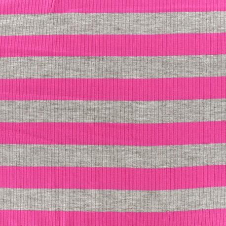 Striped stitched marcel jersey fabric 23 mm - grey/fuchsia x 10cm