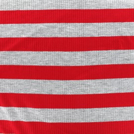 Striped stitched marcel jersey fabric 23 mm - grey/red x 10cm