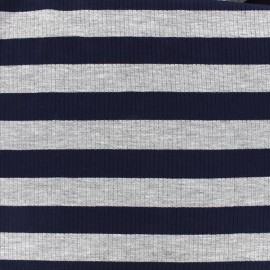Striped stitched marcel jersey fabric 23 mm - grey/navy x 10cm