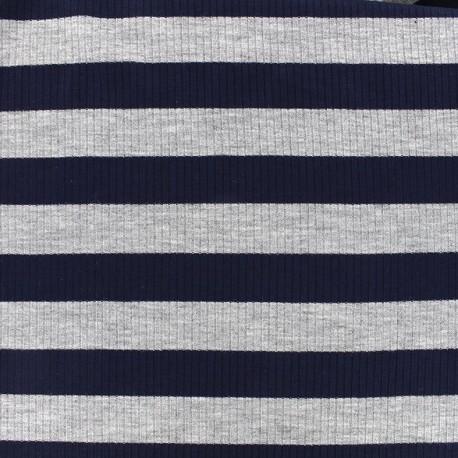 Tissu jersey maille marcel Rayures 23 mm - gris/marine x 10cm