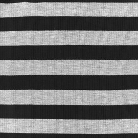 Striped stitched marcel jersey fabric 23 mm - grey/black x 10cm