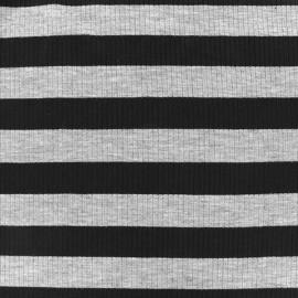 Tissu jersey maille marcel Rayures 23 mm - gris/noir x 10cm
