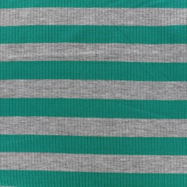 Striped stitched marcel jersey fabric 23 mm - grey/petrol x 10cm