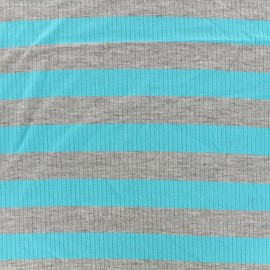 Striped stitched marcel jersey fabric 23 mm - grey/azur x 10cm