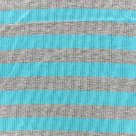 Tissu jersey maille marcel Rayures 23 mm - gris/azur x 10cm