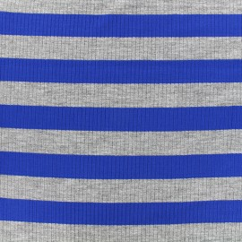 Striped stitched marcel jersey fabric 23 mm - grey/royal blue x 10cm