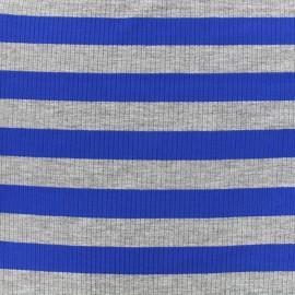 Tissu jersey maille marcel Rayures 23 mm - gris/bleu roi x 10cm