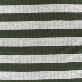 ♥ Coupon 290 cm X 140 cm ♥ Tissu jersey maille marcel Rayures 23 mm - gris/kaki