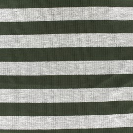 Striped stitched marcel jersey fabric 23 mm - grey/khaki x 10cm