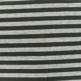 ♥ Coupon 80 cm X 140 cm ♥ Tissu jersey maille marcel Rayures 12 mm - gris/kaki