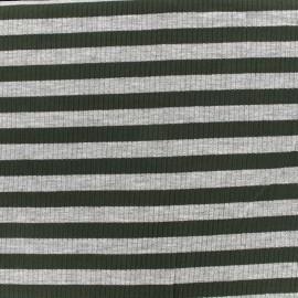 Tissu jersey maille marcel Rayures 12 mm - gris/kaki x 10cm