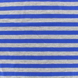 ♥ Coupon 110 cm X 140 cm ♥ Tissu jersey maille marcel Rayures 12 mm - gris/bleu roi