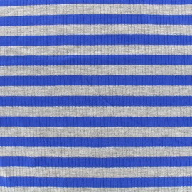 Striped stitched marcel jersey fabric 12 mm - grey/royal blue x 10cm