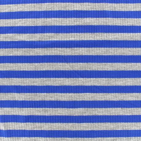 Tissu jersey maille marcel Rayures 12 mm - gris/bleu roi x 10cm