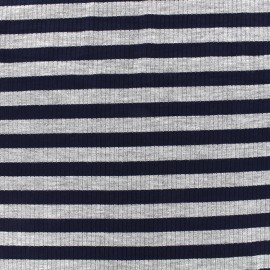 Striped stitched marcel jersey fabric 12 mm - grey/navy x 10cm