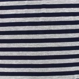 Tissu jersey maille marcel Rayures 12 mm - gris/marine x 10cm
