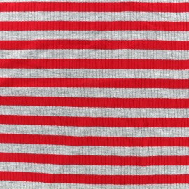 Striped stitched marcel jersey fabric 12 mm - grey/red x 10cm