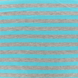 Striped stitched marcel jersey fabric 12 mm - grey/azur x 10cm