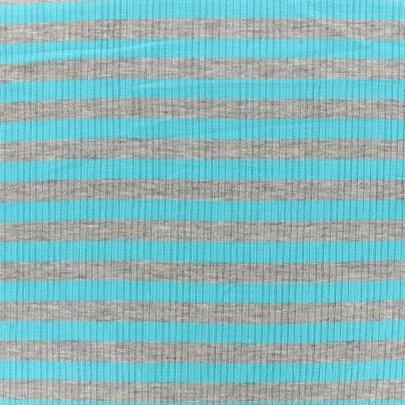 Tissu jersey maille marcel Rayures 12 mm - gris/azur x 10cm