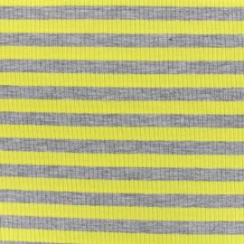 Tissu jersey maille marcel Rayures 12 mm - gris/jaune x 10cm