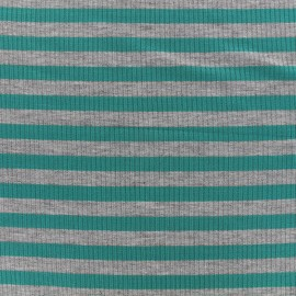 Striped stitched marcel jersey fabric 12 mm - grey/petrol x 10cm