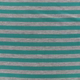 Tissu jersey maille marcel Rayures 12 mm - gris/pétrole x 10cm