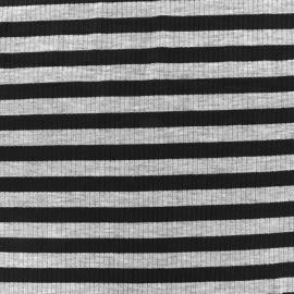 Tissu jersey maille marcel Rayures 12 mm - gris/noir x 10cm