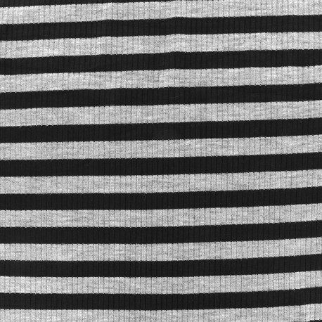 Striped stitched marcel jersey fabric 12 mm - grey/black x 10cm