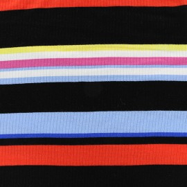 Stitched marcel jersey fabric stripes multi - red x 10cm