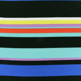 Stitched marcel jersey fabric stripes multi - seagreen 10cm