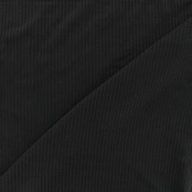 Tissu jersey maille marcel - noir 10cm
