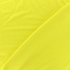 Tissu jersey maille marcel - jaune x 10cm