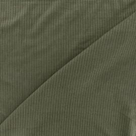 Tissu jersey maille marcel - kaki x 10cm