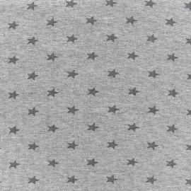Jersey tubulaire bord-côte 1/1 Stars - gris clair chiné x 10cm