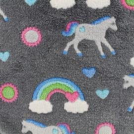 Tissu Doudou Magic horse - gris x 10cm